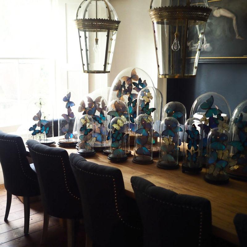 Dining room with belljars