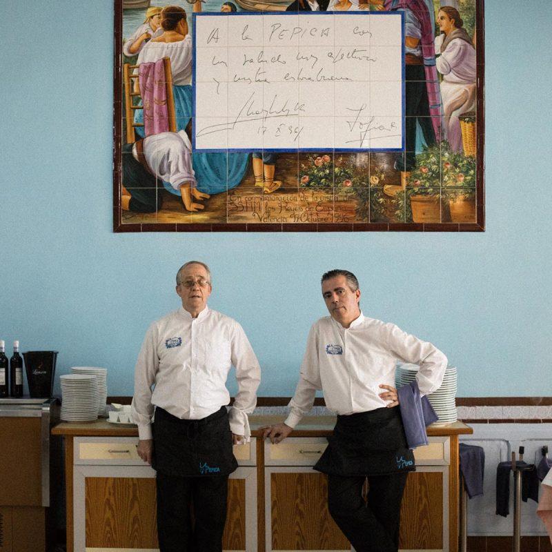 waiters at La Pepica Valencia Photograph by Alicia Waite
